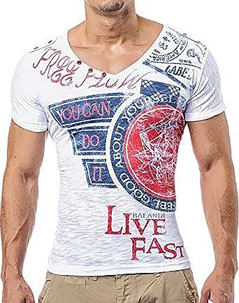 new product 21f45 a87e6 LEIF NELSON Herren T-Shirt Hoodie tiefer V-Ausschnitt Kurzarm Shirt  Sweatshirt LN2024N; Größe L, weiss
