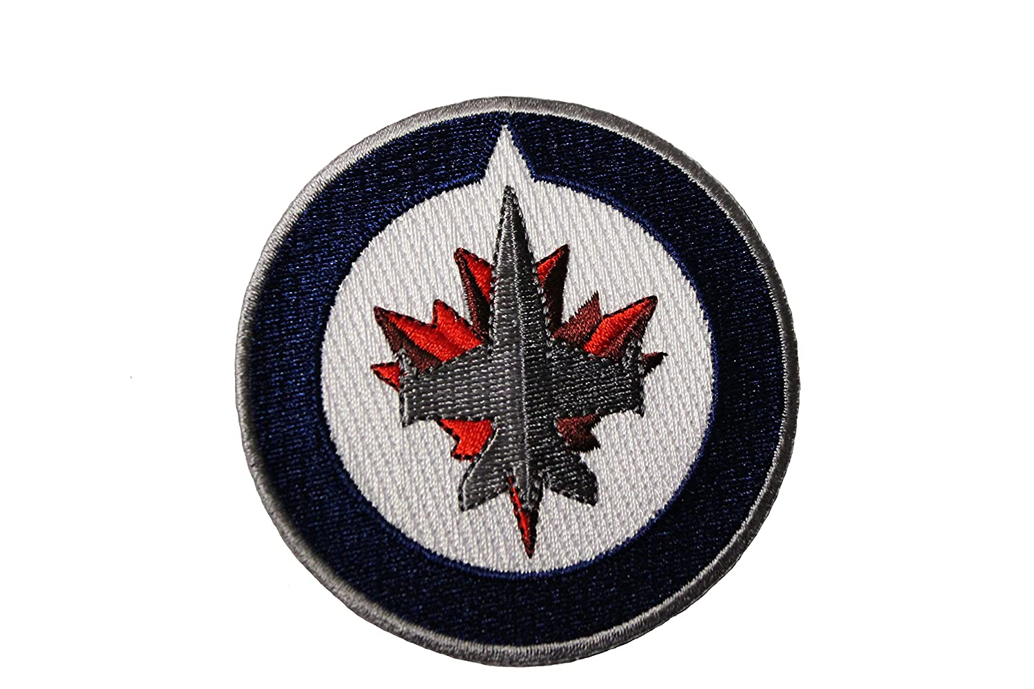 WINNIPEG JETS NHL Hockey Logo Embroidered Iron On Patch Crest Badge .. Size : 3 Inch ( 7.5 Cm ) In Diameter ... New flags inc