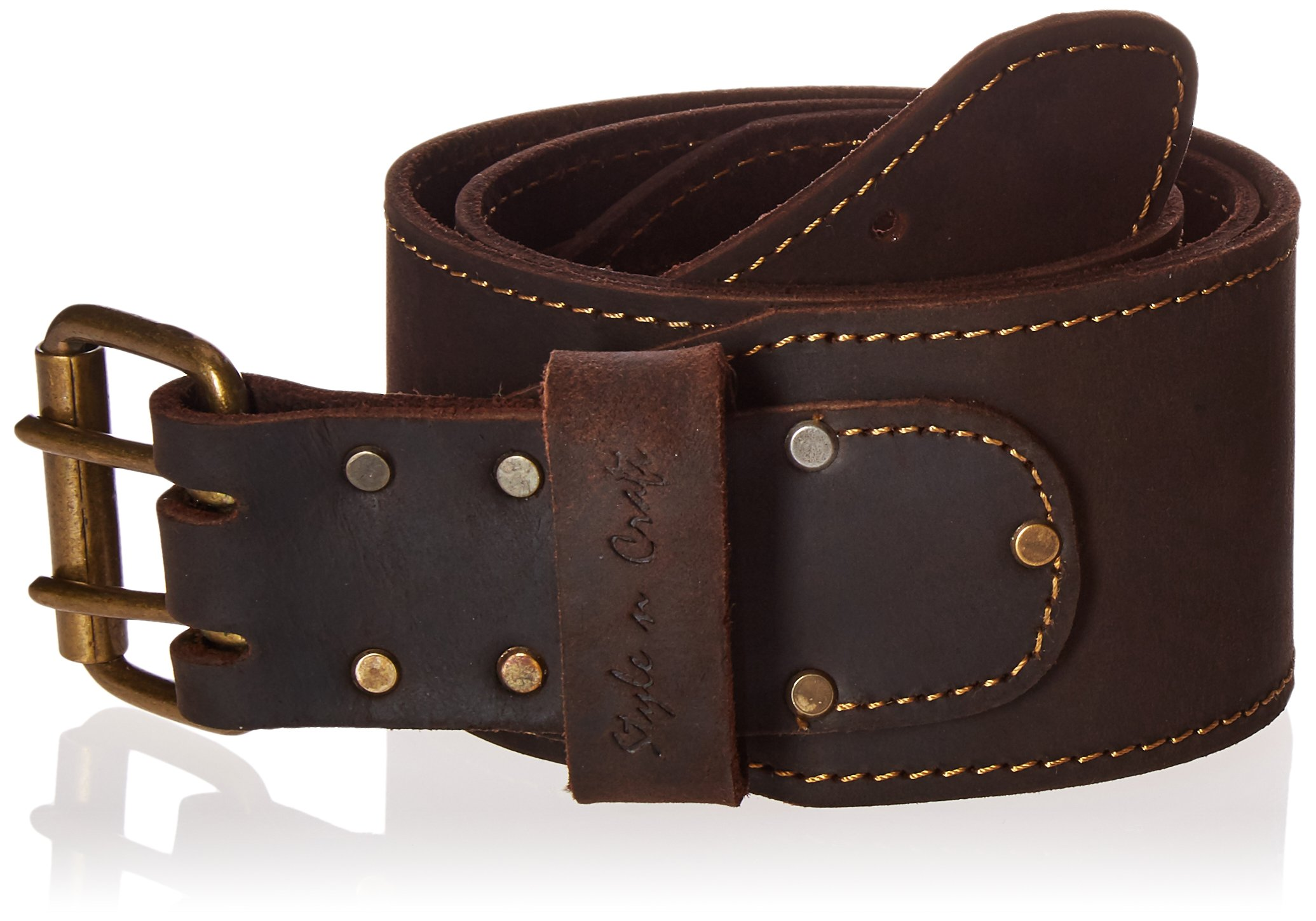Style n Craft 74055 3'' Wide Long Tapered Work Belt in Heavy Top Grain Oiled Leather, Dark Brown