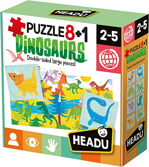 Headu- Puzzle 8+1 Dinosaurs Juego Infantil Educativo Animales Prehistóricos, Color Multiple (IT22243): Amazon.es: Juguetes y juegos