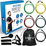 Resistance Bands Set by Penguin Fit - for Men and Women - Tone at Home with 101 Exercise Booklet - 5 Quality Fitness Tubes, Door Anchor, Handles, Ankle Straps and Carry Case