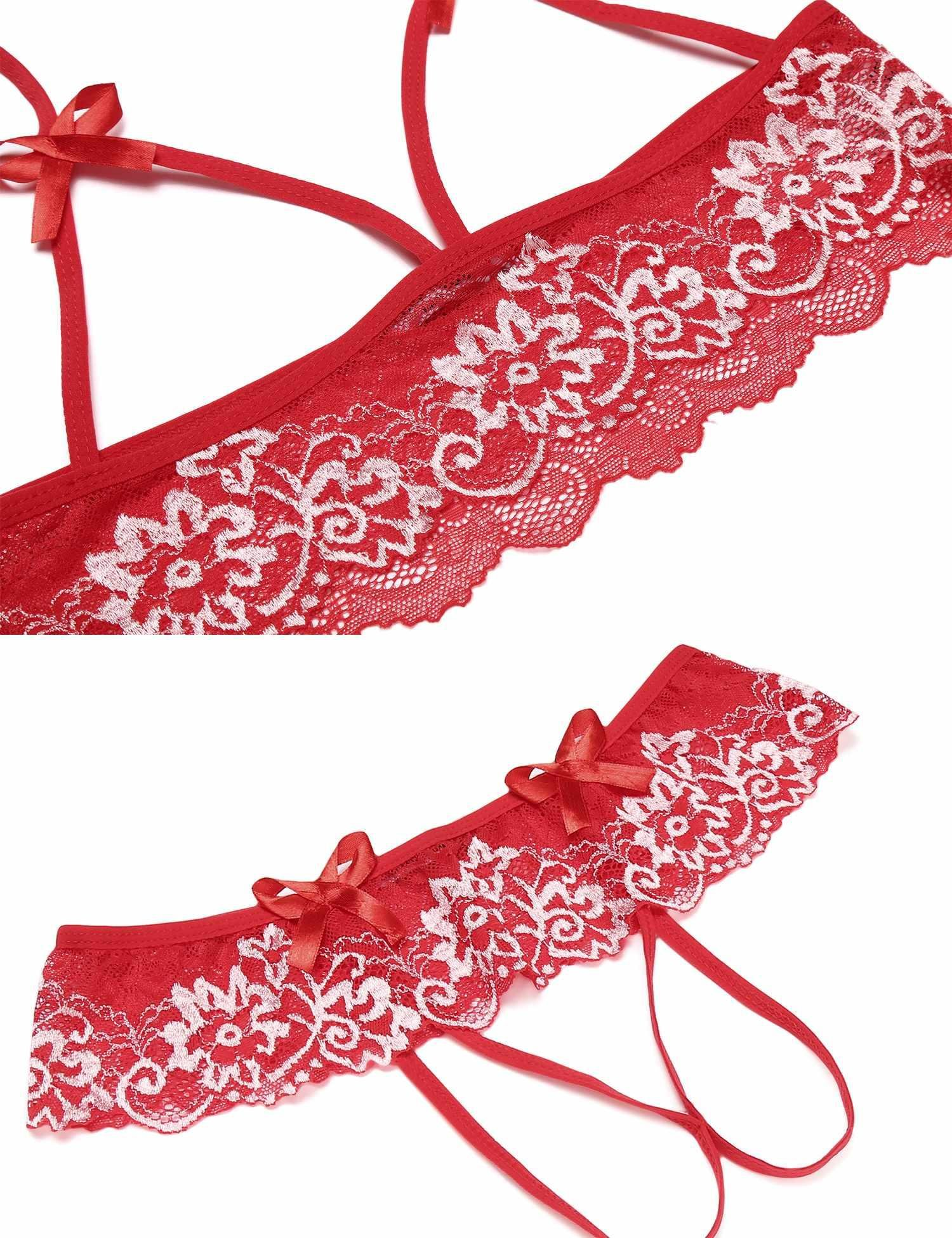 MAXMODA Women's Sexy Strappy Lingerie Set Halter Lace Babydoll Red M by MAXMODA (Image #4)
