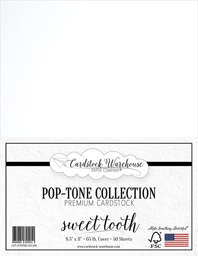 50 Sheets from Cardstock Warehouse 8.5 x 11 inch 65 lb Cover SWEET TOOTH WHITE Cardstock Paper
