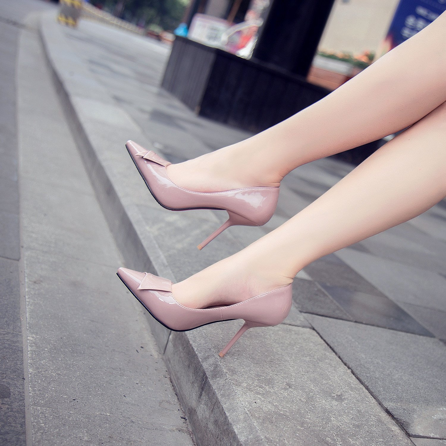 Tip of the high-heel shoes pointed high-heeled shoes fine with 9.5cm Bow Tie Women's singles shoes, bare-color 35 by YLSZ-High heels (Image #2)