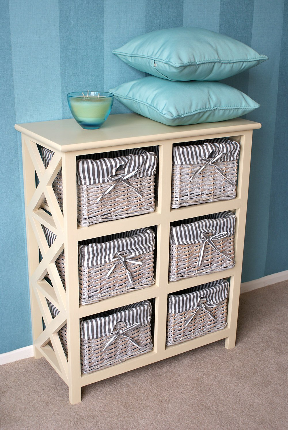 Exceptionnel Casamoré Selsey 6 Drawer Wicker Storage Wooden Unit/Chest Drawers Fabric  Lined Removable Baskets: Amazon.co.uk: Kitchen U0026 Home