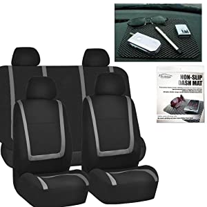 FH GROUP FH-FB032114 Unique Flat Cloth Car Seat Covers, Gray / Black with FH GROUP FH1002 Non-slip Black Dash Grip Pad Mat- Fit Most Car, Truck, Suv, or Van