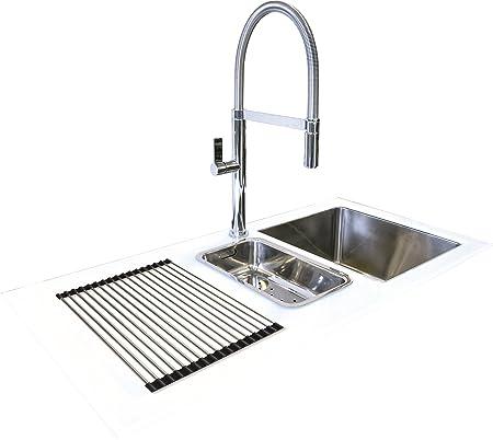 Reflection Glass Kitchen Sink White 1000mm x 500mm Left Hand Drainer ...