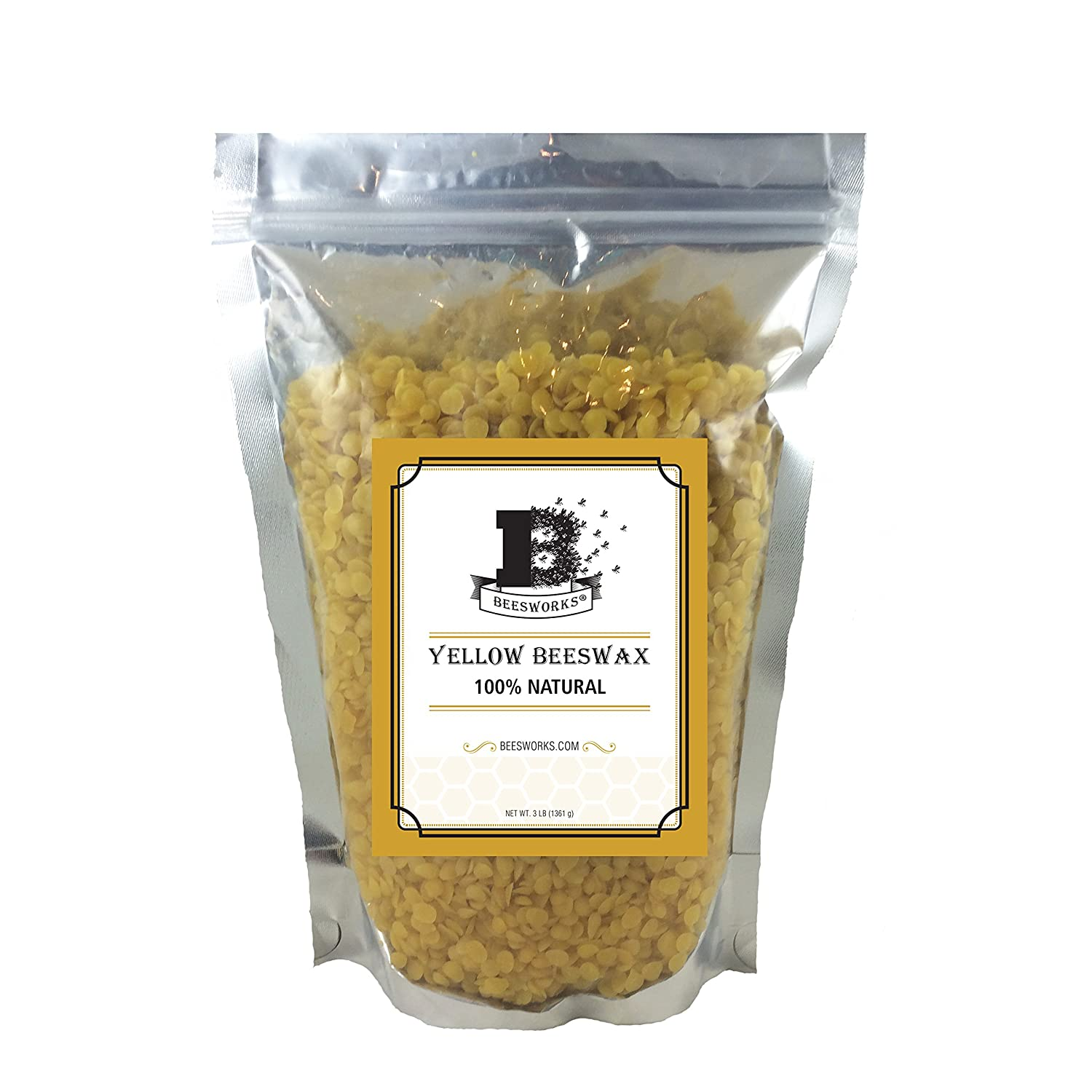 Beesworks 3lb- Beeswax Pellets, Yellow-Cosmetic Grade