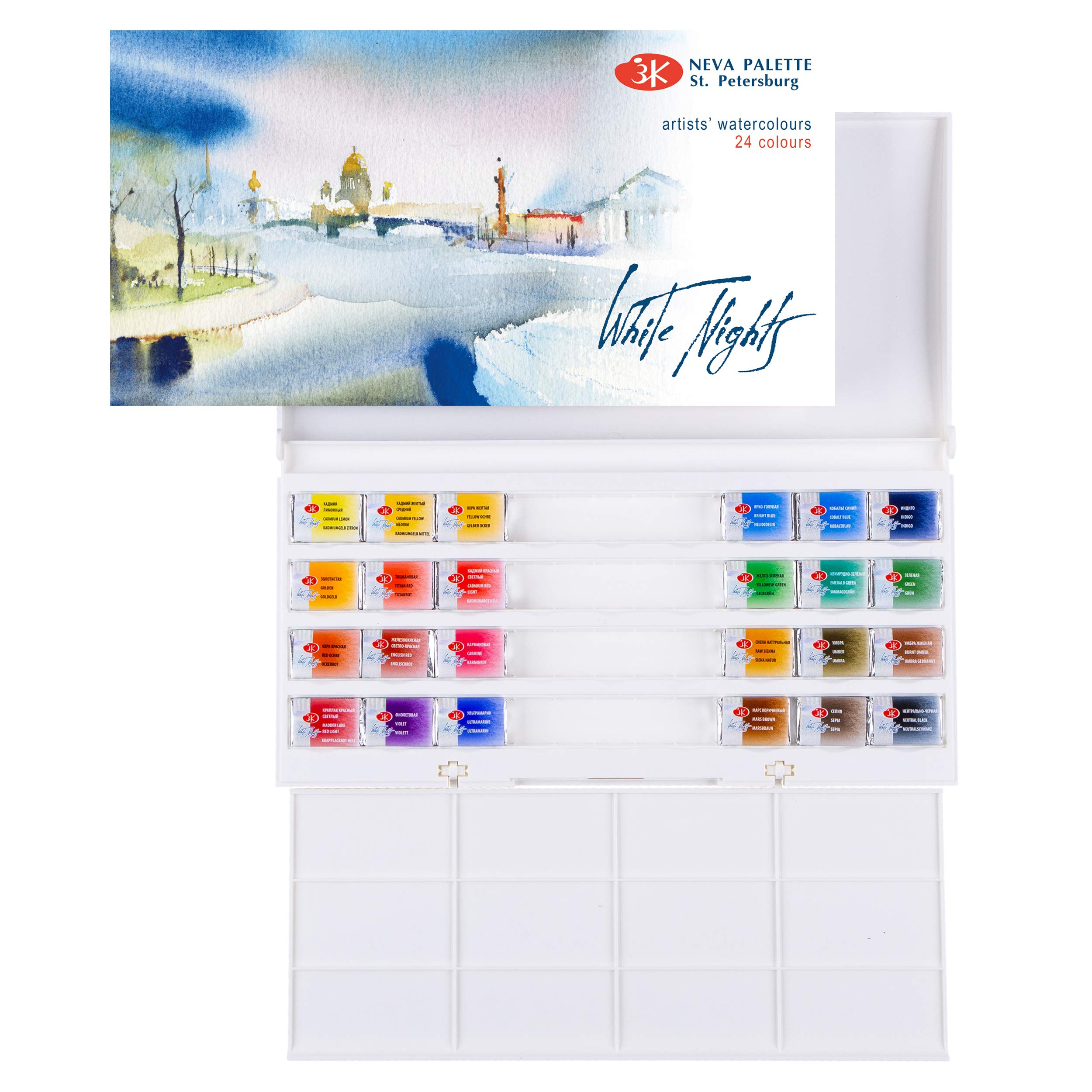 WHITE NIGHTS Watercolor 24 Full Pans, in Plastic Case by Saint Petersburg Russia