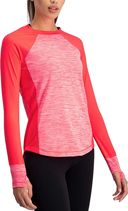 1877edd545fc Amazon.com  Long Sleeve Compression Workout Tops for Women - Thermal ...