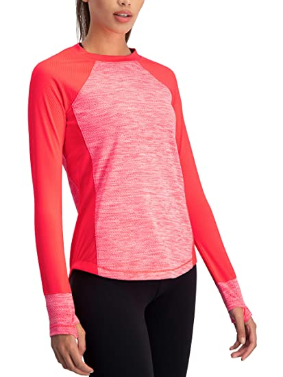 d2eceb1e3713f Long Sleeve Compression Workout Tops for Women - Thermal Running Shirt, Dry  Fit w/Thumbholes