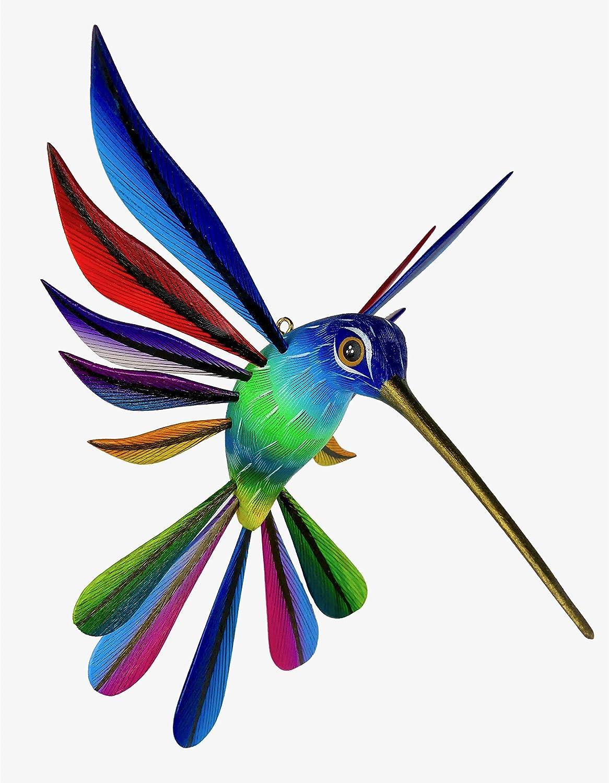 Hummingbird Wood Carving, Mexican Folk Art Figurine, Hand-Made Oaxacan Alebrije, Birder Gift