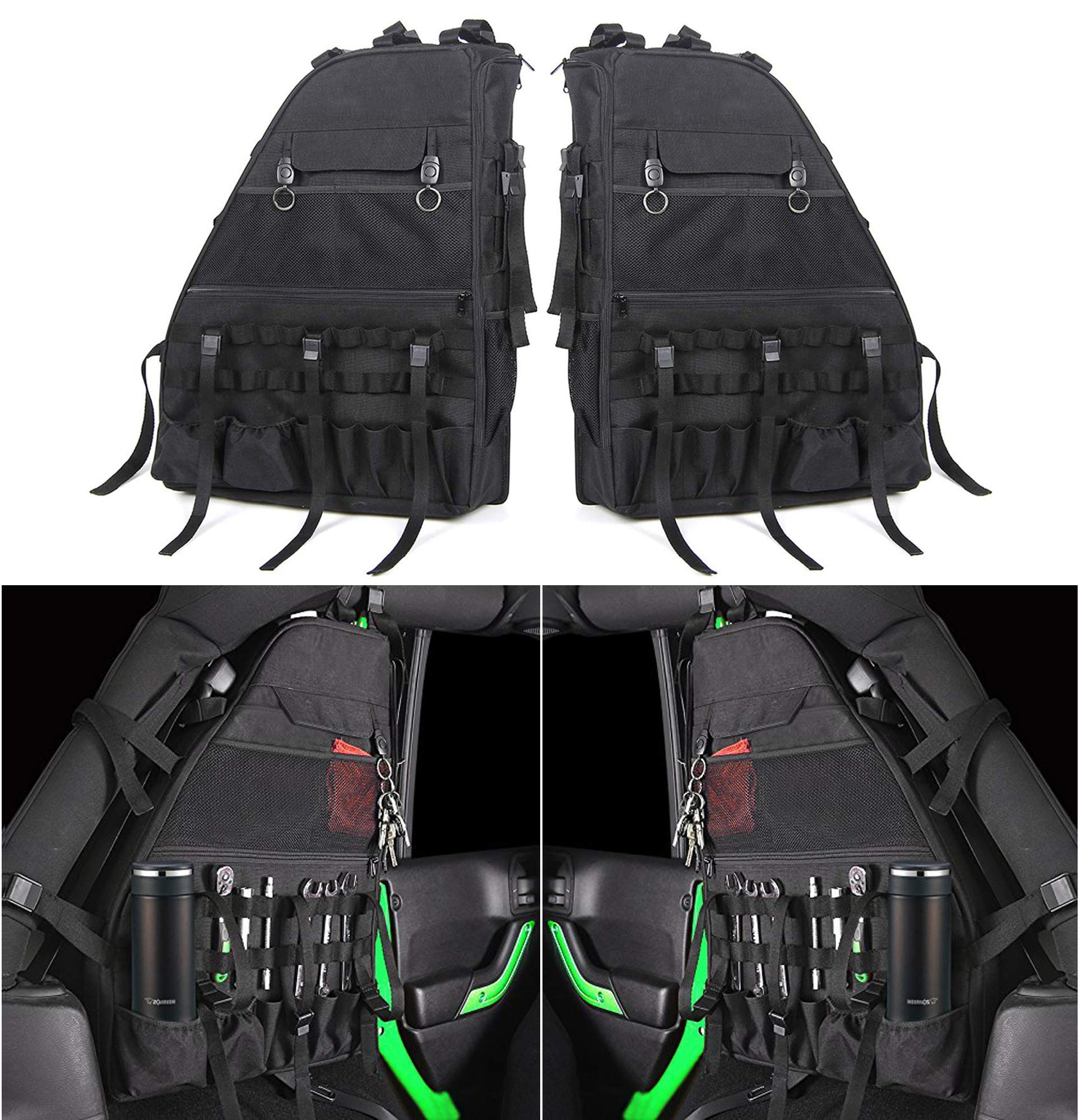 Roll Bar Storage Bag Cage with Multi-Pockets Compatible for Jeep Wrangler JK JKU TJ Unlimited 4 Doors - Pack of 2