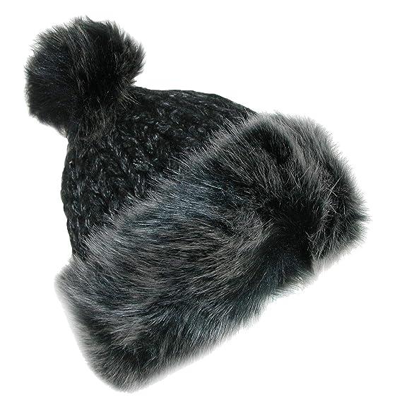 b3c579a7573 Pia Rossini Cara Faux Faur Knitted Beanie Hat (various colours) (Black)