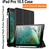 Oaky Smart Case Cover Compatible with iPad Pro 10.5 inch 2017 with Pencil Holder Auto Sleep/Wake Cover - Black
