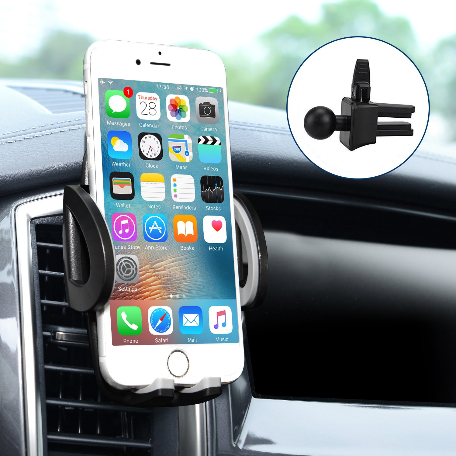 best sneakers ef989 ae187 Car Mount, Amoner Universal Car Air Vent Holder, 360 Rotation with Release  Button for iPhone X/8 Plus/8/7 Plus/7/6s/SE, Samsung Galaxy and other ...