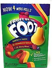 Fruit by The Foot Variety Pack - 44 Packs of 3 Foot Rolls - 22 Strawberry Splash + 22 Berry Blast - Fruit Flavored Snacks