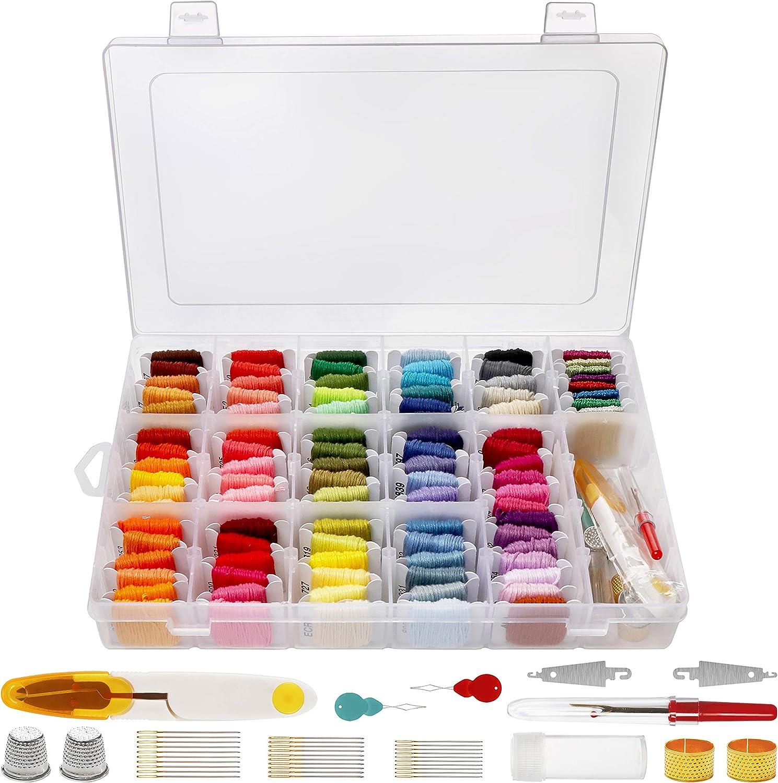 Handi Stitch Kit Hilo Punto de Cruz (140 Piezas) - Kit Hilos para Pulseras con Caja Almacenamiento – 91 Hilos de Colores y 9 Metálicos - Set Bordado Brazalete de la Amistad y Manualidades: Amazon.es: Hogar