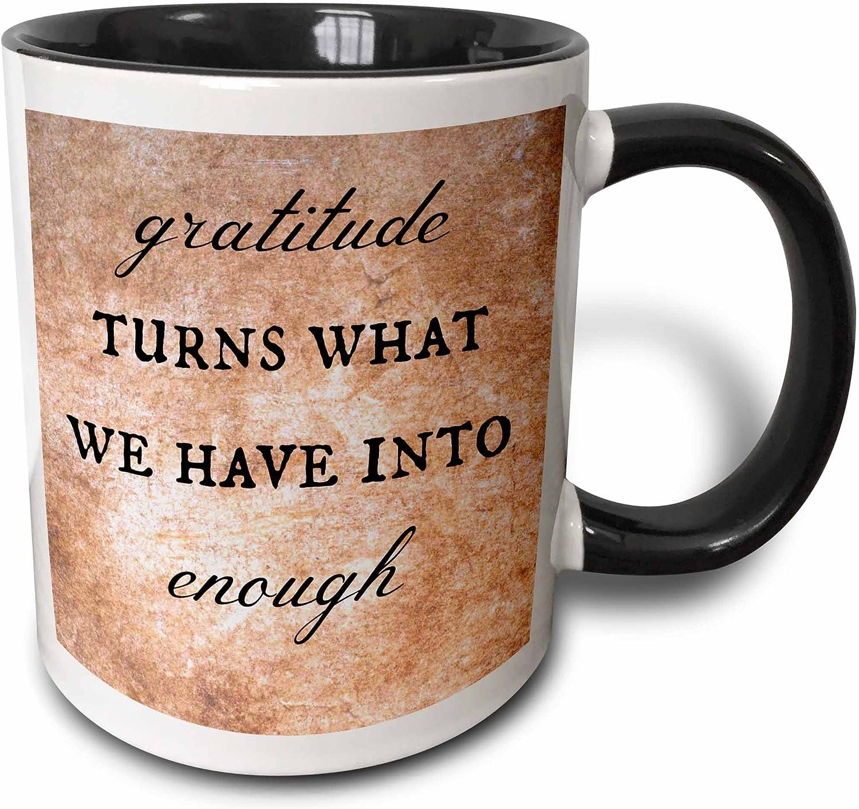 3dRose Gratitude Turns What We Have Into Enough Ceramic Mug, 11 oz, Black