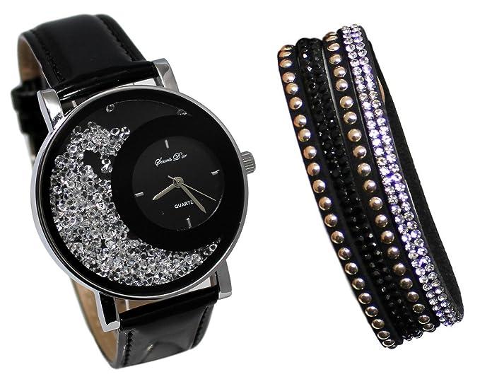 Coffret reloj mujer piel negro brillantes + pulsera doble Tour Stardust Dolce Vita