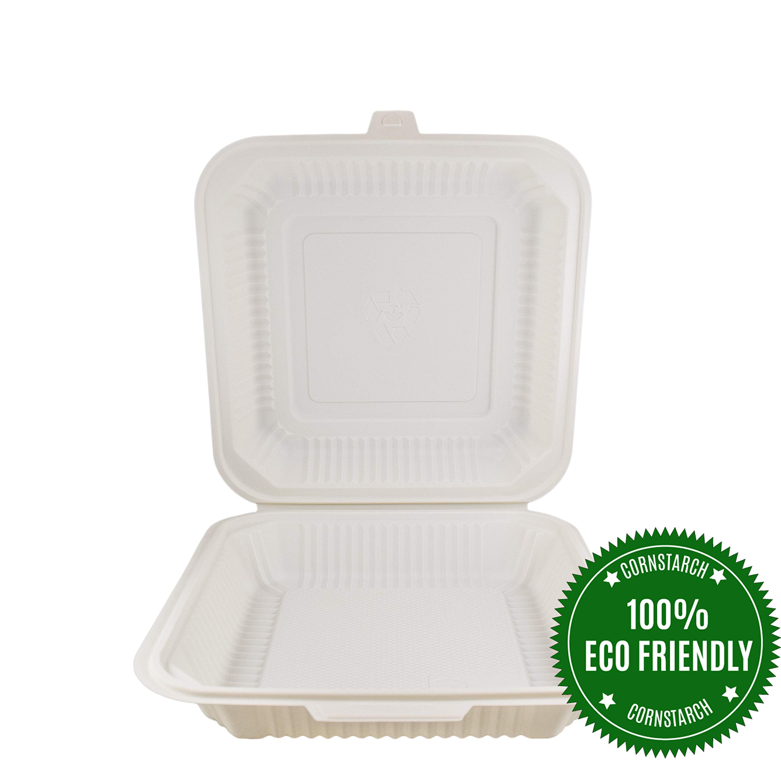 HeloGreen Eco-Friendly (9''x 9'', 1-Compartment) Cornstarch Disposable Food Containers With Lids For: Lunch Salad Meal Prep Storage Box To Go Leftover, BPA-Free, Microwave and Freezer Safe - (100 Set)