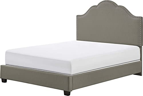Crosley Furniture Preston Upholstered Platform Bed and Camelback Headboard, King, Shadow Gray Linen