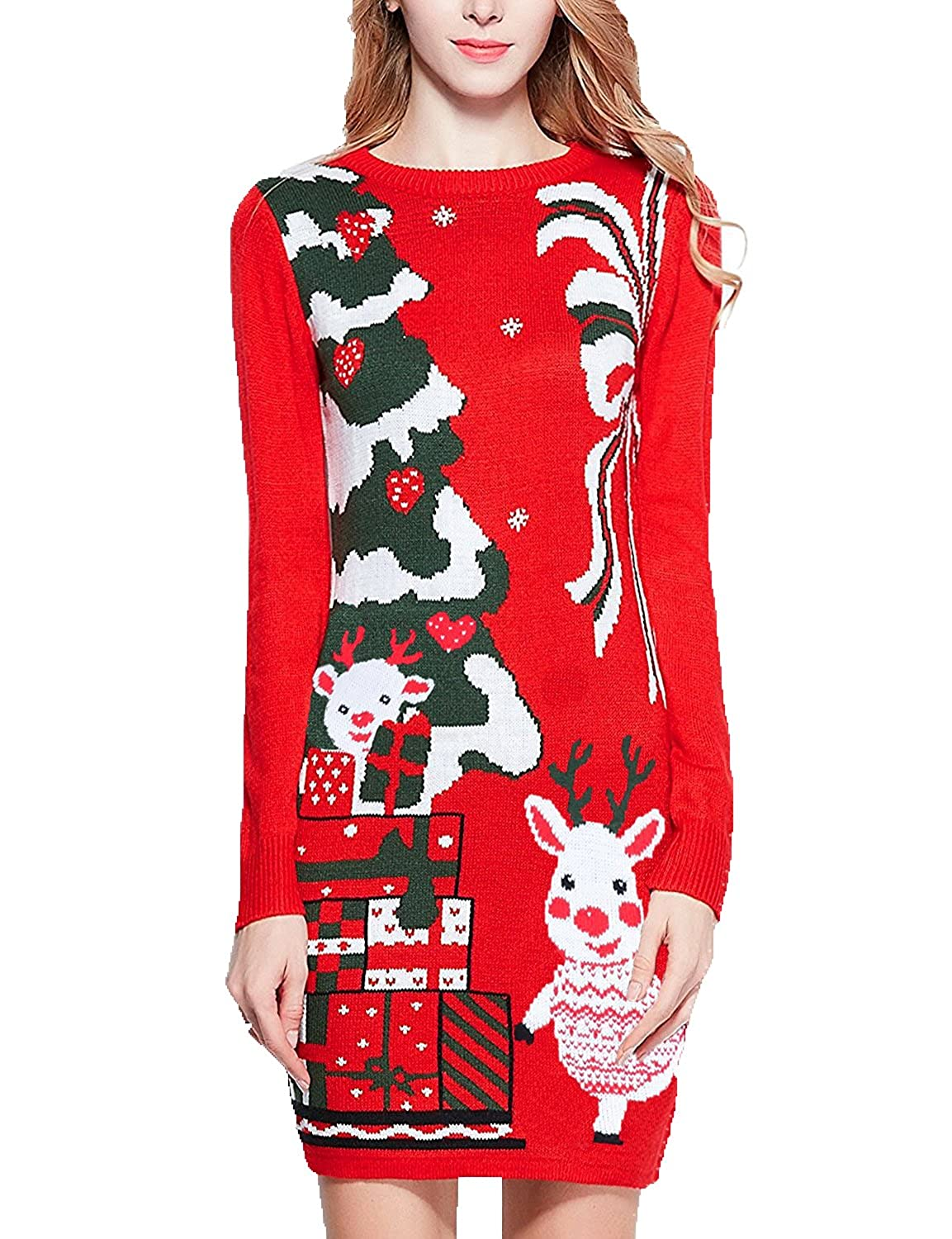 6a792dc1b5d6 Christmas Sweater, V28 Women Ugly Holiday Knit Cute Pullover Xmas Sweater  Dress: Amazon.ca: Clothing & Accessories