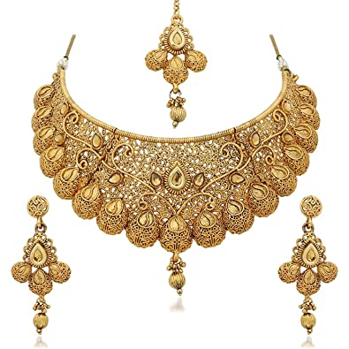 image necklace plated tika bridal is wedding s jewellery gold loading itm earrings indian set