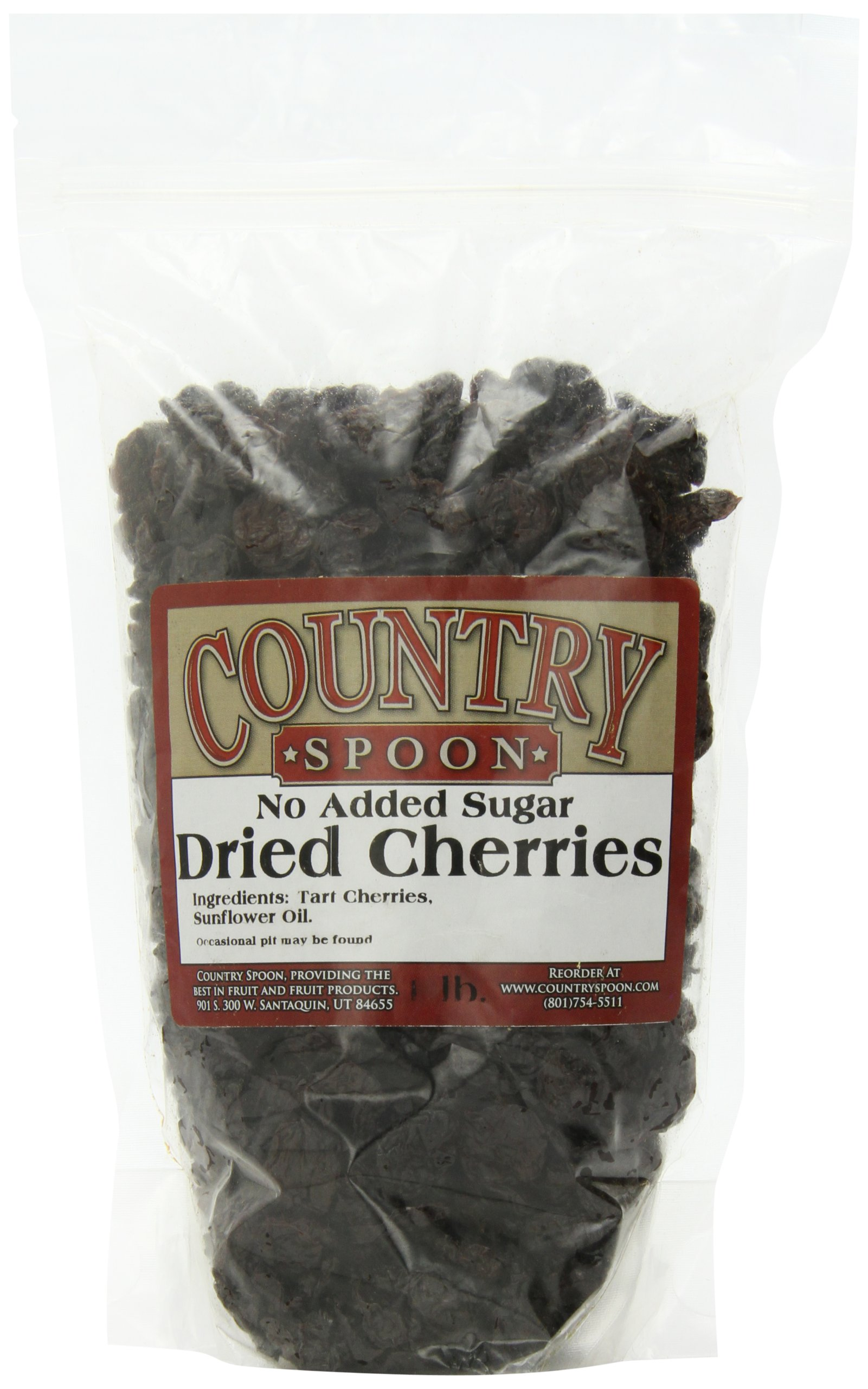 No Sugar Added Dried Tart Montmorency Cherries by Country Spoon - 1 lb. Bag
