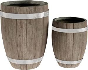 Fiber Clay Planter Set – 2-Piece Barrel Shaped Pots with Metal Trim, a Wood Look and Drainage Holes for Herbs and Flowers by Pure Garden (Dark Gray)