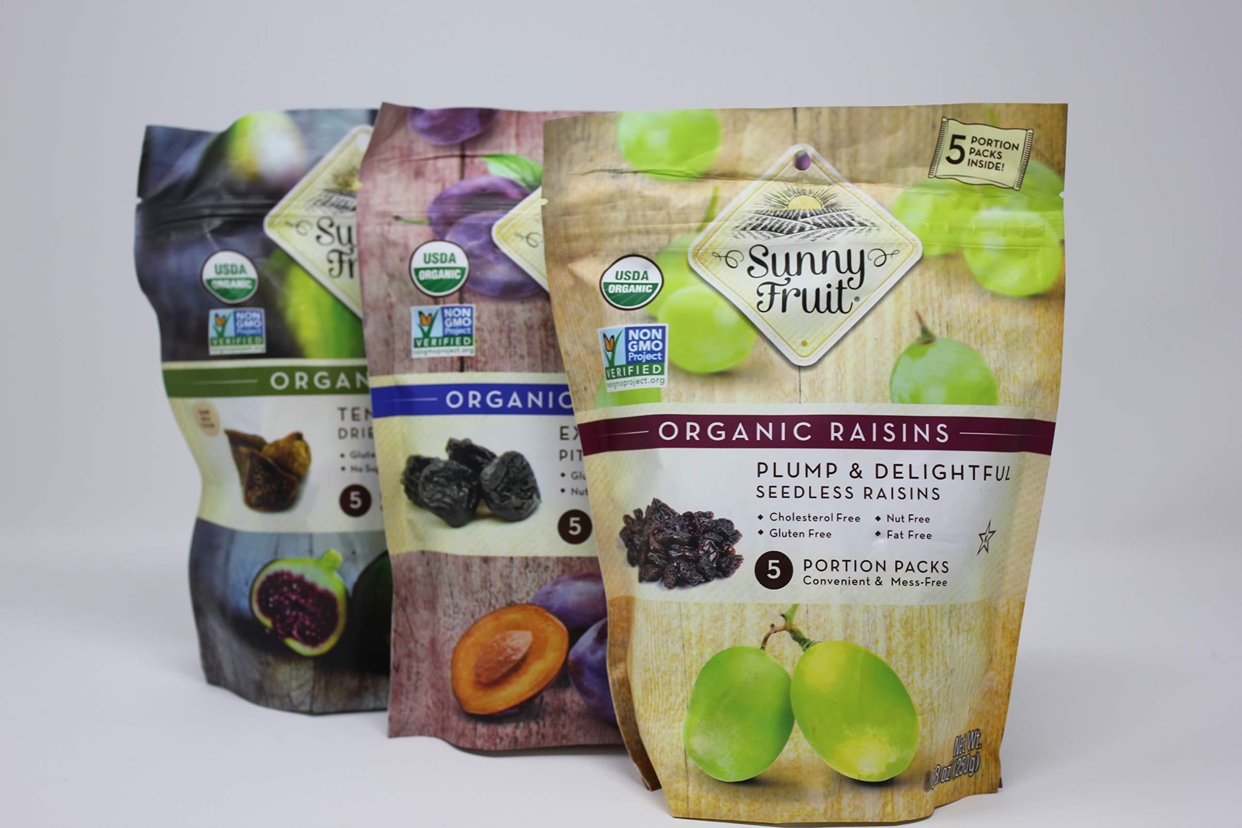 Organic Dried Fruit Variety Pack - Sunny Fruit - (6) Bags - (5) 1.76 oz. Portion Packs Per Bag | Smyrna Figs, Dried Plums, Raisins | No Added Sugar, Non GMO, Kosher, Vegan | No Preservatives by SunnyFruit