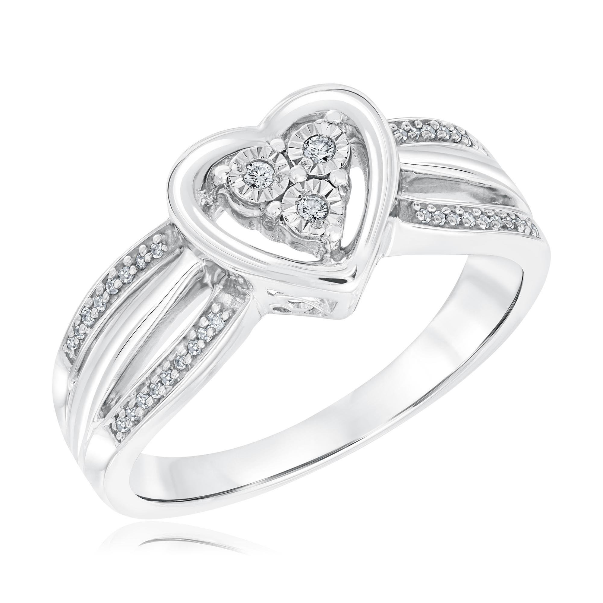 Sterling Silver Diamond Heart and Three Row Promise Ring 1/15ctw - Size 8