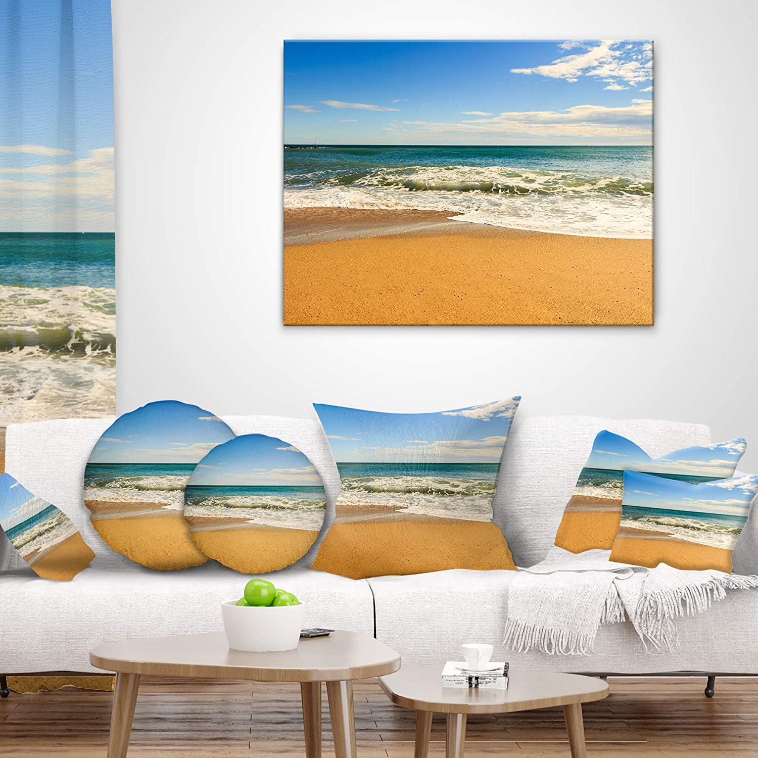 Designart CU8774-16-16-C Daylight Relaxation Landscape Photography Round Cushion Cover for Living Room Sofa Throw Pillow 16