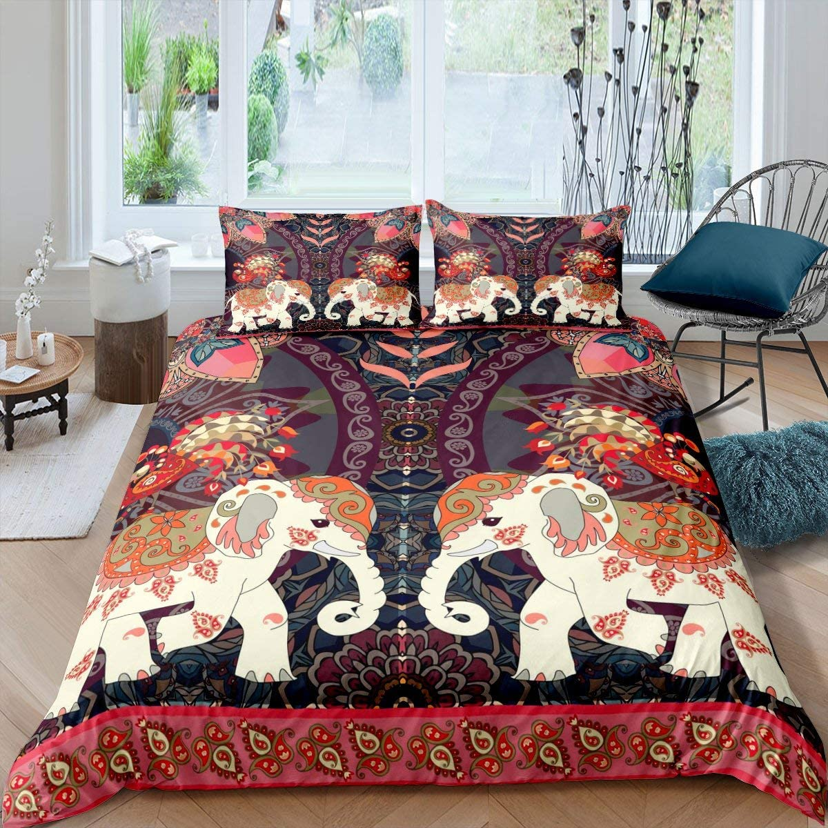 Boho Elephant Comforter Cover for Adult Women Girls Bohemian Mandala Printed Vintage Luxury Duvet Cover Exotic Retro Holy Style Bedding Set Colorful Floral Printed Bedspread with Zipper Ties, Full