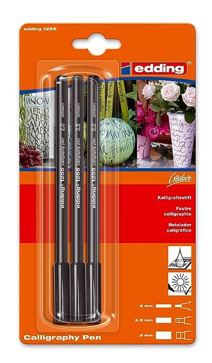 Made in Germany Farbe: schwarz 3x edding 1255 Kalligrafie-Stift Ideal f/ür Kalligraphie und Lettering auf nahezu allen Oberfl/ächen