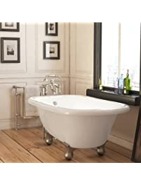 Luxury 54 Inch Small Modern Clawfoot Tub In White With Stand Alone  Freestanding Tub Design