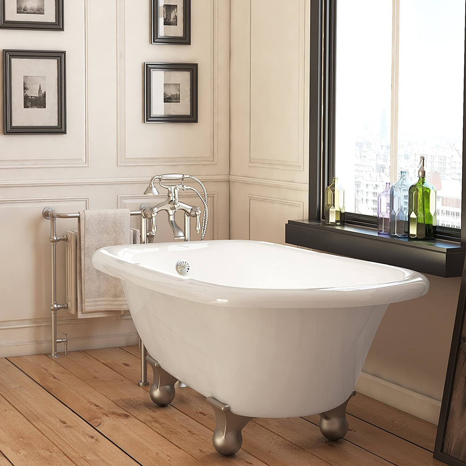 Luxury 54 inch Small Modern Clawfoot Tub in White with Stand-Alone ...