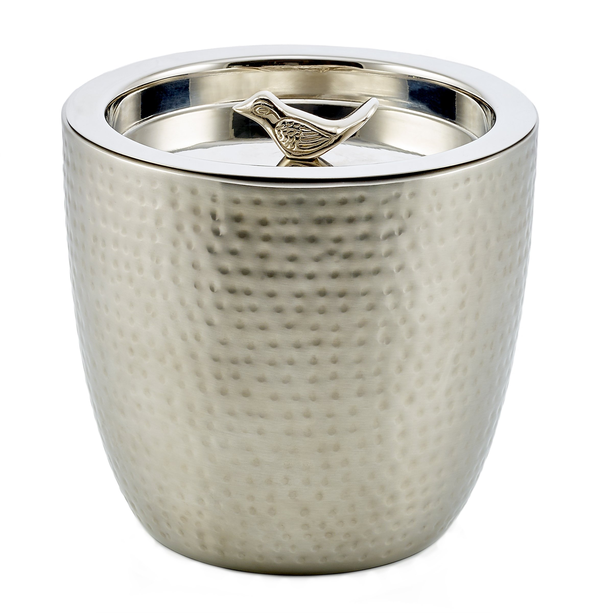 Old Dutch ''Churp'' Hammered Double Walled Stainless Steel Ice Bucket with Bird Knob, 11/2 quart