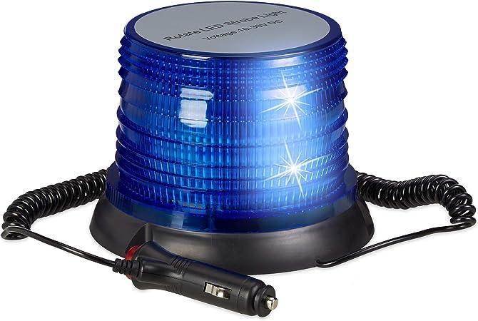 Relaxdays Luz Sirena Policía para Coche con Base Magnética, 10-30 V, Azul, 12 x 16,5 cm: Amazon.es: Hogar