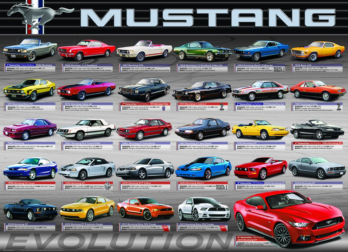 Eurographics ford mustang evolution 50th anniversary puzzle 1000 piece jigsaw puzzles amazon canada