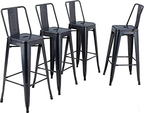 ALPHA HOME Metal Bar Stool Patio Stool 30 inches Counter Height Stools Set of 4