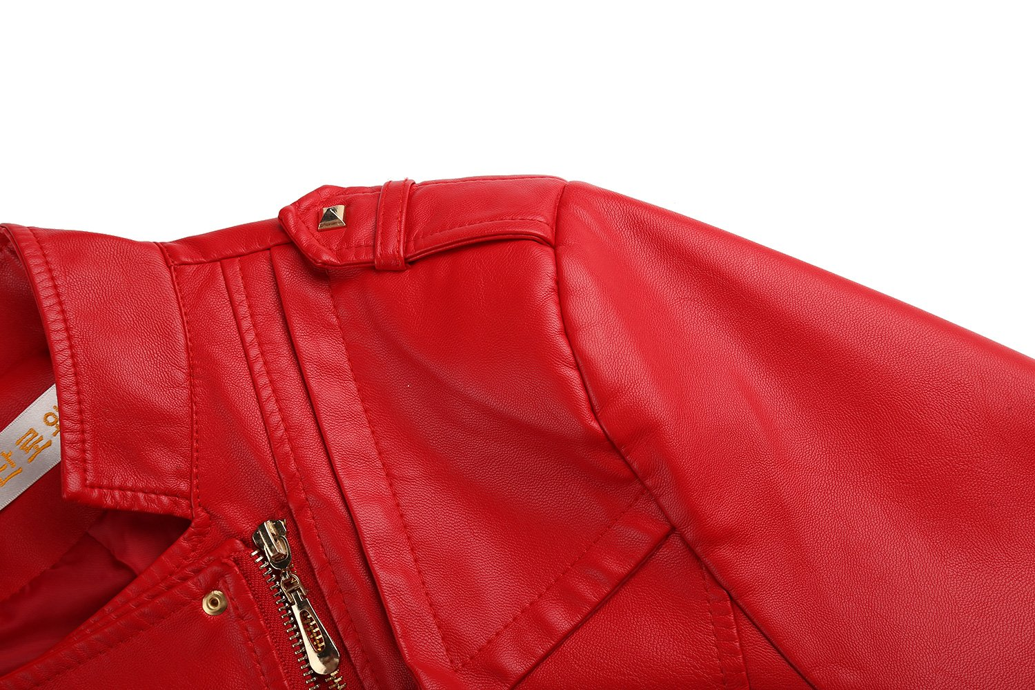 Tanming Women's Slim Zipper Color Faux Leather Jacket Red (Large, Red) by Tanming (Image #3)