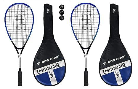 2 x pistola Browning Nano Ti raqueta de Squash para niño + lote de ...