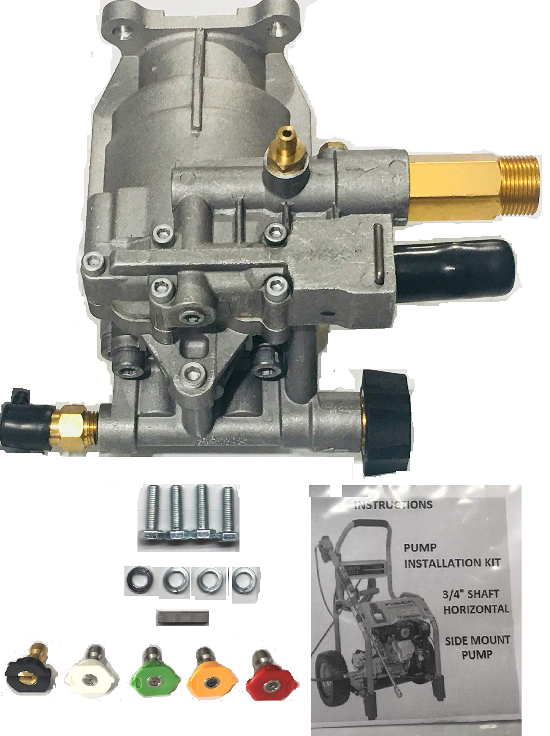 Homelite New 2700 PSI Pressure Washer Pump Replaces 308418007 Models HL252300, UT80522, UT80953, UT80522B, UT80953B, PS80522, PS80903B, UT80522A, UT80953A, UT80522D, UT80522E Includes 5 New QC Nozzles by Homelite