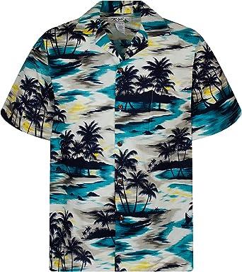 KYs   Original Camisa Hawaiana   Caballeros   S - 6XL   Manga Corta   Bolsillo Delantero   Estampado Hawaiano   Palmeras   Playa   Turquesa