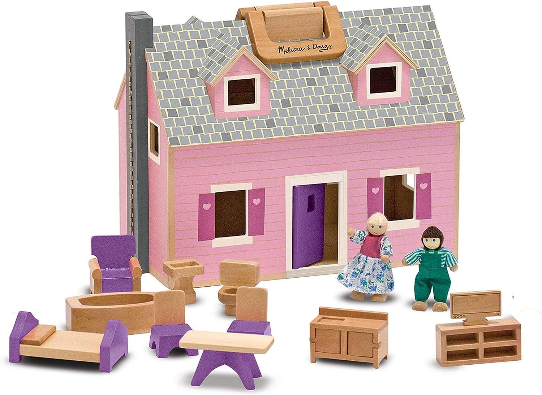 Melissa & Doug Fold & Go Dollhouse   Dollhouses & Dolls   Play Sets   3+   Gift for Boy or Girl