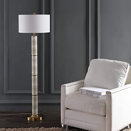 Safavieh Lighting Collection Marcello Faux Snakeskin Off-White 60.5-inch Floor Lamp