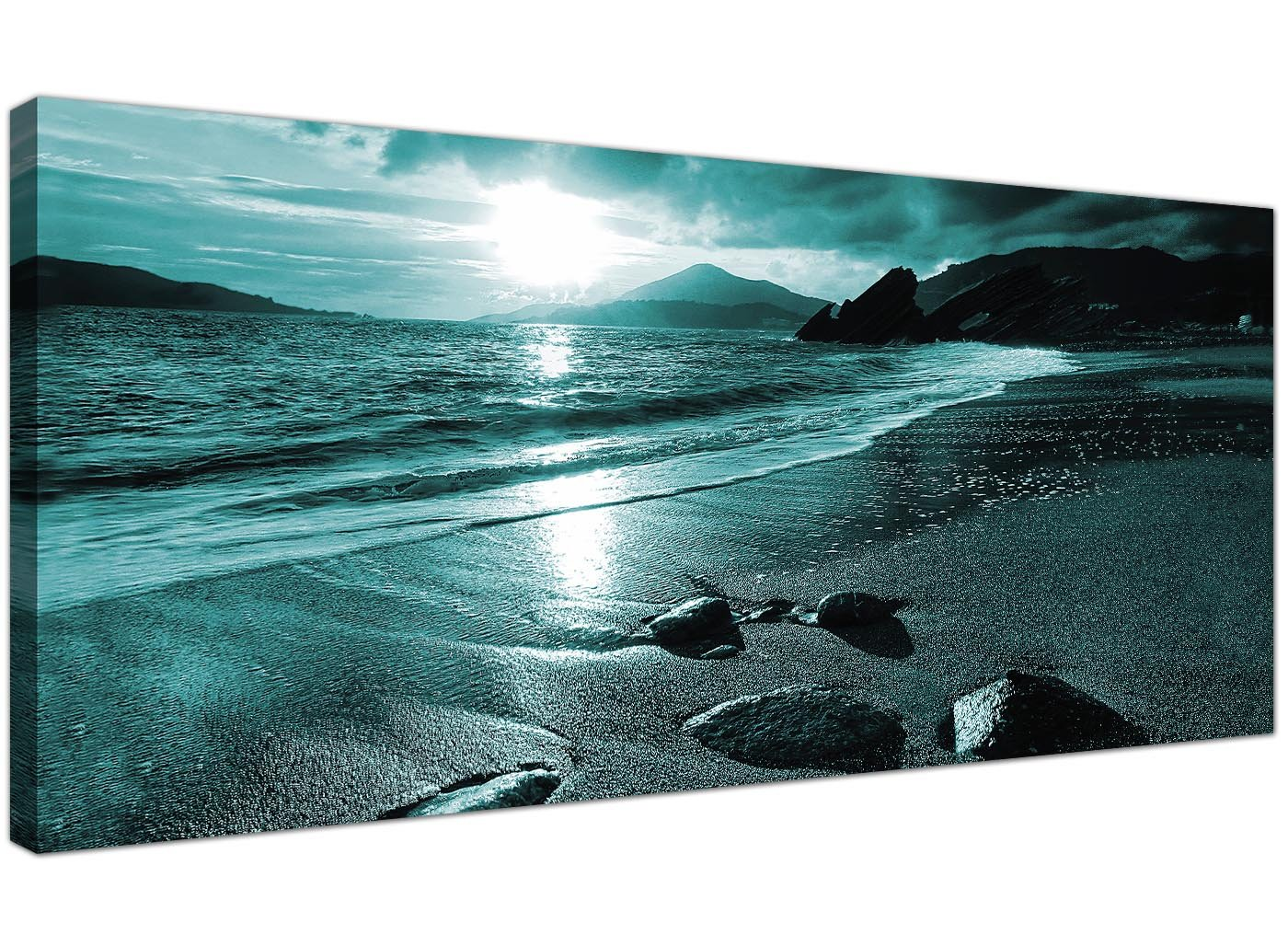 Modern Teal Canvas Pictures Of A Beach Sunset   Turquoise Sea Wall Art    1079   Wallfillers®: Amazon.co.uk: Kitchen U0026 Home