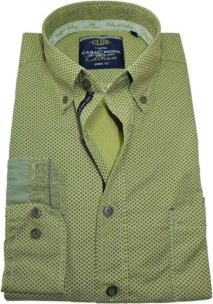 Casa Moda - Camisa Casual - Dos Botones - con Botones - Manga Larga - para Hombre chartroisegrün Anthrazit M: Amazon.es: Ropa y accesorios
