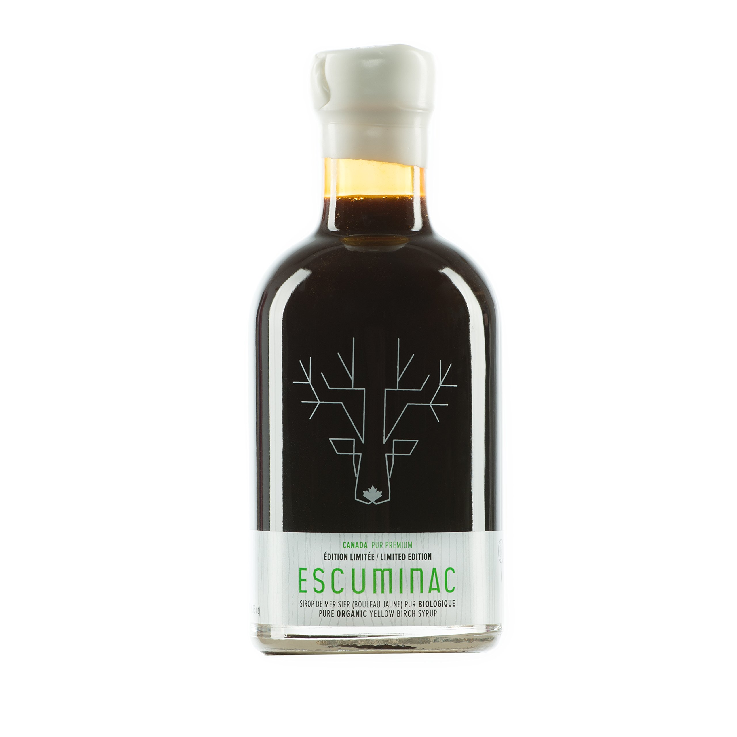 Award Winning Escuminac Canadian Yellow Birch Syrup - Dark Robust - Limited Edition - Pure Organic - 6.8 fl oz (200ml) - SIAL Canada's Trends And Innovations Award 2011